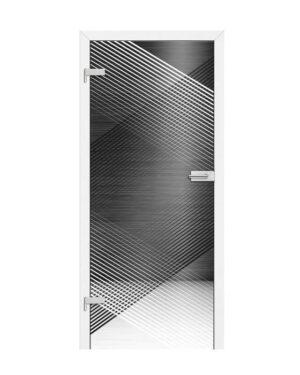 Drzwi szklane z czarnym wzorem